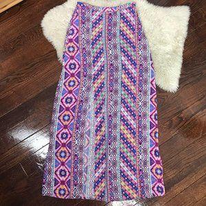 Flying Tomato Aztec Tribal Maxi Skirt Slit Front